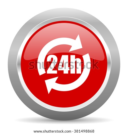 24h red chrome web circle glossy icon