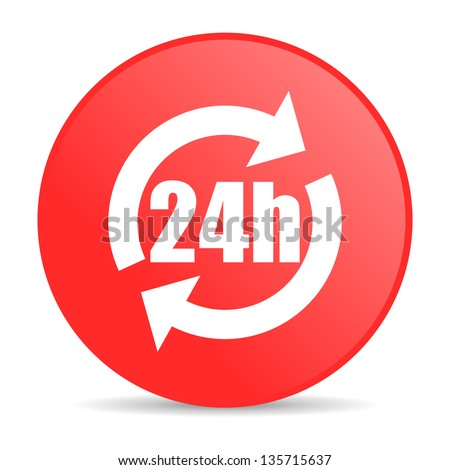24h red circle web glossy icon