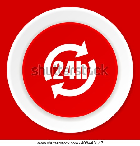 24h red flat design modern web icon