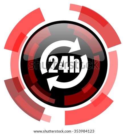 24h red modern web icon