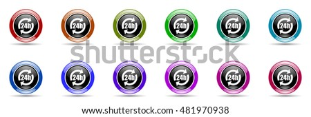 24h round glossy colorful web icon set