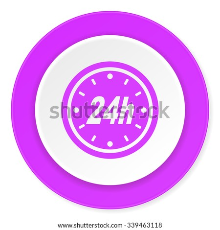 24h violet pink circle 3d modern flat design icon on white background  - stock photo