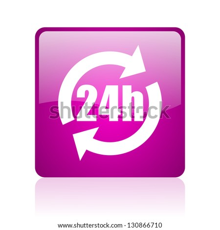 24h violet square web glossy icon