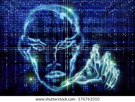 hacker blue illustration - stock photo