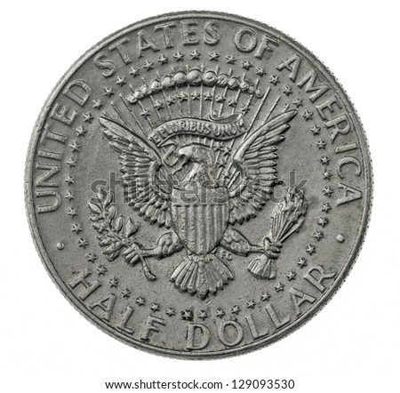 Half Dollar coin isolated on white, State Emblem - stock photo