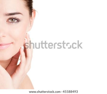 half face of woman - stock photo