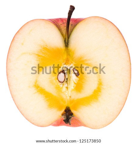 Half of a ripe Japanese San-Fuji apple with naturally sugared core - stock photo