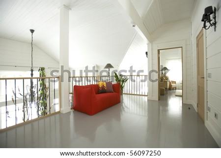 hall i red sofa - stock photo