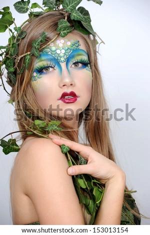 halloween beautiful creative fashion make up dryad