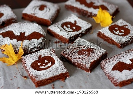 Halloween Chocolate Brownies - stock photo