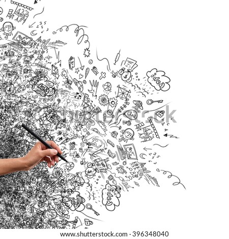 hand and doodle                              - stock photo