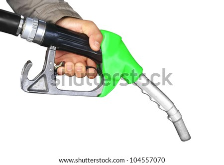 hand and green gas pump isolated