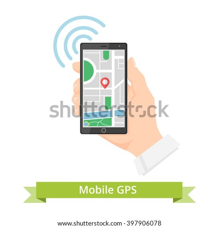 Hand and Smartphone with Map Navigation - stock photo