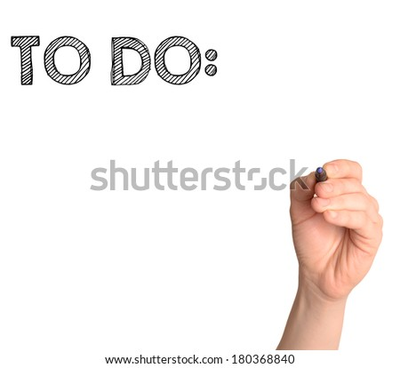 hand drawing a to do list isolated on white background  - stock photo
