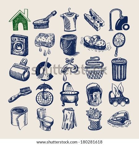 25 hand drawing doodle icon set, cleaning and hygiene service, raster version - stock photo