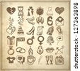 36 hand drawing doodle icon set, wedding sketchy illustration on grunge background, raster version - stock photo
