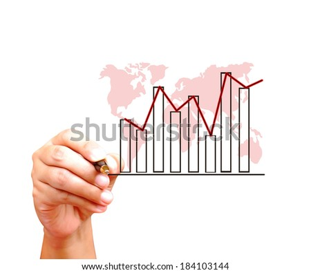 Hand drawing graph on world map background - stock photo