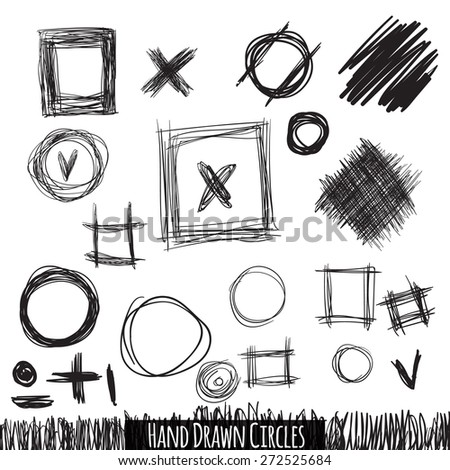 hand drawn circles, squares and other sighns.  - stock photo