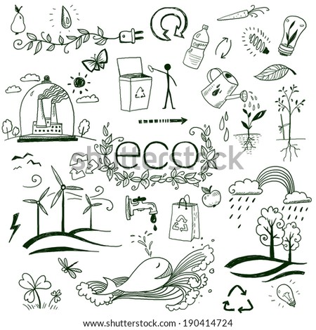 hand drawn design elements - eco - stock photo