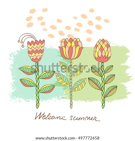 Hand drawn floral background with frame for your text. Card with flowers. Doodle template universal hand drawn card