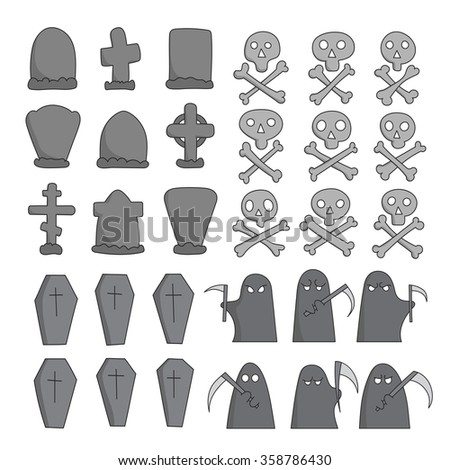 hand drawn graveyard collection. Creative concept crosses, coffins, gravestones, skull and bones, grim pappers sketch. - stock photo