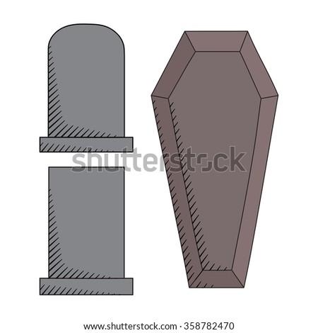 hand drawn graveyard icons set. Creative coffin and gravestones sketch  - stock photo