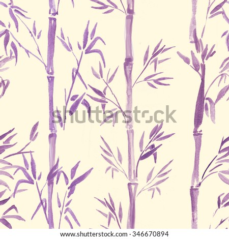 Hand-drawn watercolor seamless pattern with bamboo plant drawing. Repeated background with bamboo - stock photo