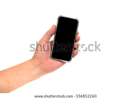 hand holding cell phone isolated on white