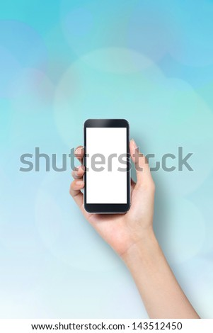 hand holding mobile phone - stock photo