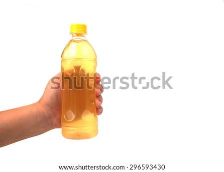 hand holding refreshment  isolated on white - stock photo