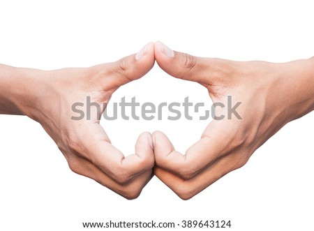 hand in heart shape show love friendship with clipping path isolated on white background