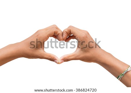 hand in heart shape showing love friendship and with clipping path on white background