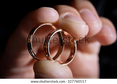 hand of groom with wedding rings, closeup