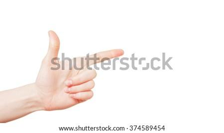 hand on white background - stock photo