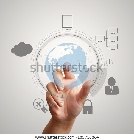 hand pointing  3d world with padlock as Internet security online business concept  - stock photo