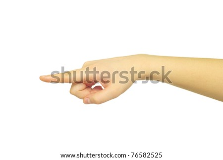 hand pointing with index finger against a white background