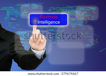 hand pressing business intelligence button on interface with world map  background.