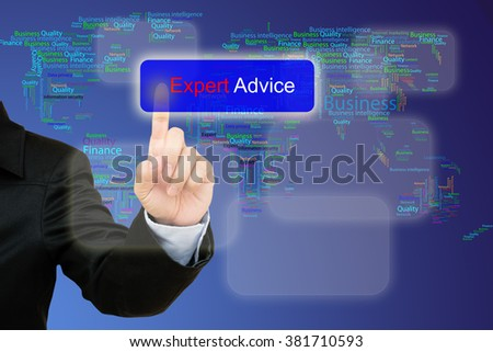 hand pressing  expert advice button on interface with world map  background.