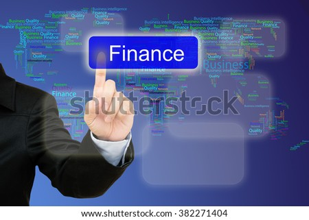 hand pressing finance button on interface with world map  background.