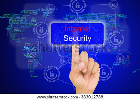 hand pressing internet security button on interface with world map  background. - stock photo