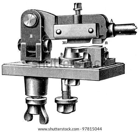 """hand scraper - an illustration for article """"Equipment for the production of coins"""" of the encyclopedia publishers Education, St. Petersburg, Russian Empire, 1896 - stock photo"""