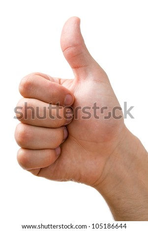 Hand showing thumbs up sign close-up isolated on white background. - stock photo
