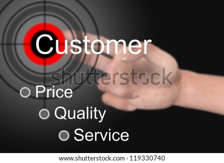 Hand touch customer concept - stock photo