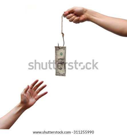 hand trying to get a dollar banknote hung on a fish hook - stock photo