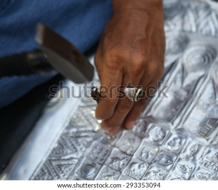 hand use hammer make silver craft, handmade and hand craft, Chaing Mai, Thailand