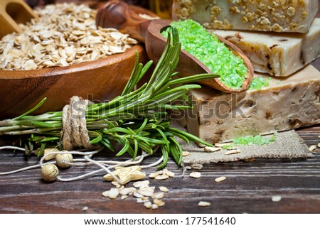 Handmade Soap with the branches of rosemary - stock photo