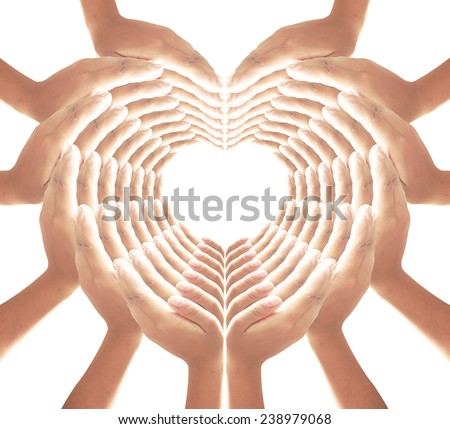 84 hands for heart and web shape, web of love. - stock photo