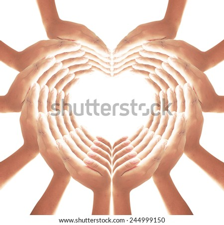 60 hands for heart and web shape, web of love. - stock photo
