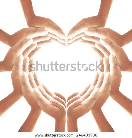 36 hands for heart and web shape, web of love. - stock photo