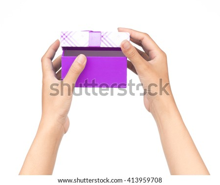hands hold a empty purple gift box isolated on white background